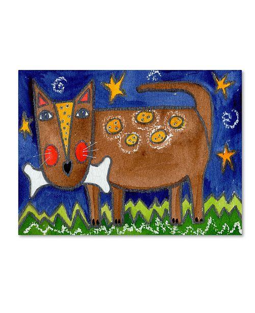 "Trademark Global Wyanne 'Funky Dog With Bone' Canvas Art - 14"" x 19"""