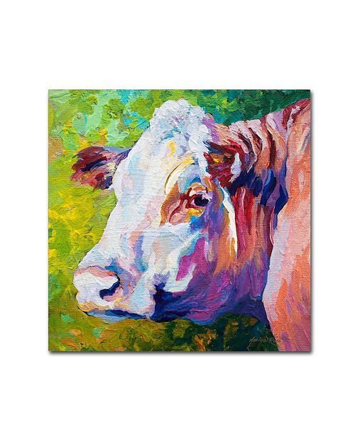 "Trademark Global Marion Rose 'White Face Cow' Canvas Art - 14"" x 14"""