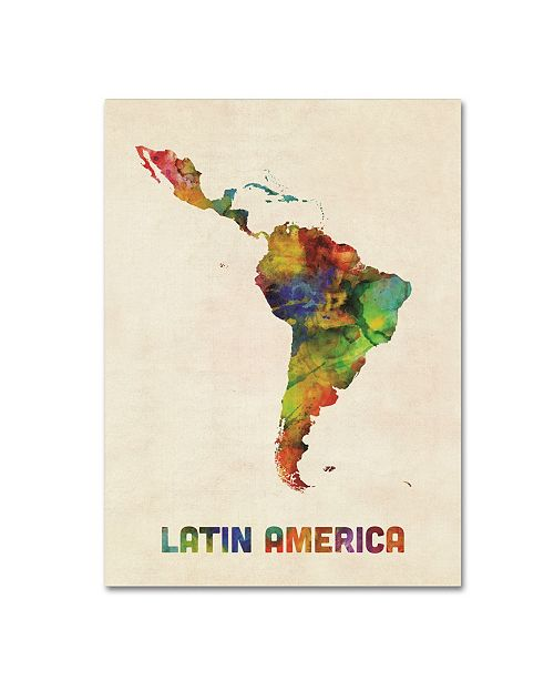 "Trademark Global Michael Tompsett 'South America Watercolor Map' Canvas Art - 14"" x 19"""