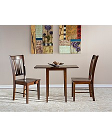 International Concepts Small Dual Drop Leaf Table With 2 San Remo Chairs