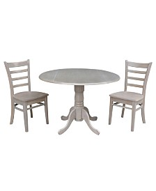 "International Concepts 42"" Dual Drop Leaf Table With 2 Emily Side Chairs"