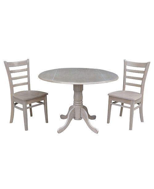 "WHITEWOOD INDUSTRIES/INTNL CONCEPTS International Concepts 42"" Dual Drop Leaf Table With 2 Emily Side Chairs"