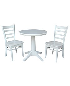 """30"""" Round Top Pedestal Table- With 2 Emily Chairs"""