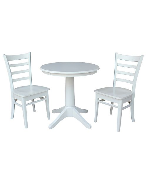 """WHITEWOOD INDUSTRIES/INTNL CONCEPTS International Concepts 30"""" Round Top Pedestal Table- With 2 Emily Chairs"""