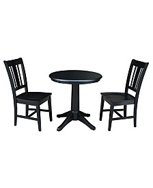 """International Concepts 30"""" Round Top Pedestal Table- With 2 San Remo Chairs"""