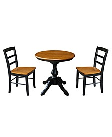 "30"" Round Top Pedestal Table- With 2 Chairs"