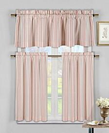 Xandra 3-Piece Striped Kitchen Curtain Set