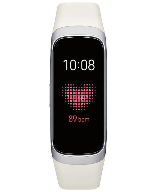 """Samsung Unisex Galaxy Fit White Elastomer Strap Touchscreen Smart Watch .95"""""""