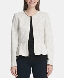 DKNY Floral-Print Zip-Up Peplum Jacket