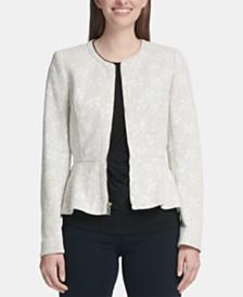 DKNY Petite Zip-Front Peplum Jacket