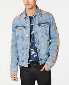 GUESS Men's Side Tape Denim Jacket