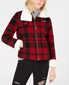 CoffeeShop Juniors' Faux-Fur-Collar Plaid Jacket