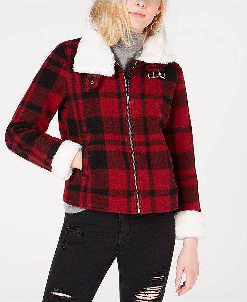 CoffeeShop Juniors' Faux-Fur-Collar Plaid Jacket