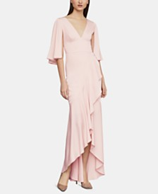 BCBGMAXAZRIA Ruffled Satin Gown