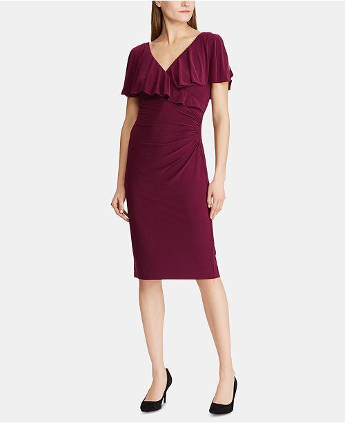 Lauren Ralph Lauren Rhinestone-Pin Ruffled Jersey Dress