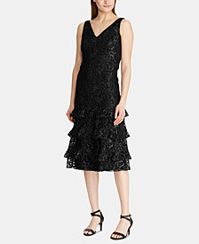 Lauren Ralph Lauren Tiered-Ruffle Lace Dress