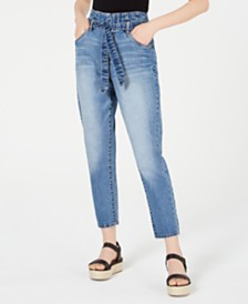 Dollhouse Juniors' Tie-Waist High-Rise Jeans