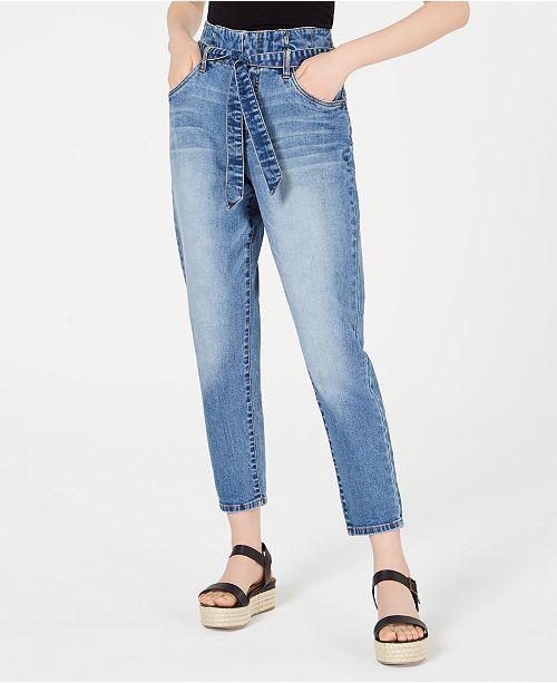 Dollhouse Juniors' Tie-Waist High-Rise Jeans