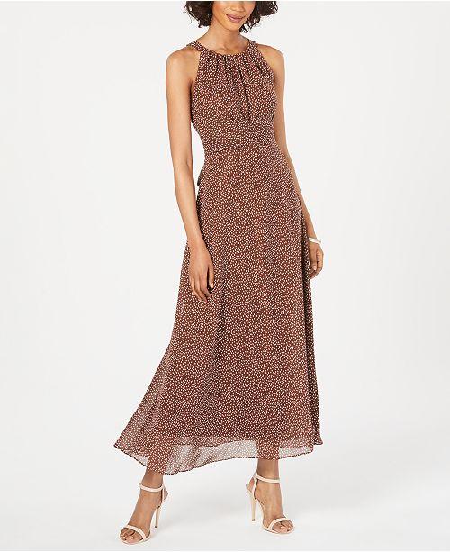 Adrianna Papell Polka Dot Halter Maxi Dress