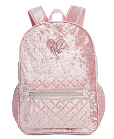 FAB Little & Big Girls Pink Crushed Velvet Glitter Backpack