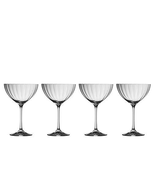 Belleek Pottery Erne Saucer Champagne Glass Set of 4