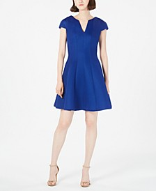 Cap-Sleeve Mesh Fit & Flare Dress