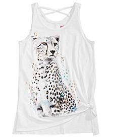 Big Girls Cheetah-Print Side-Tie Top, Created for Macy's