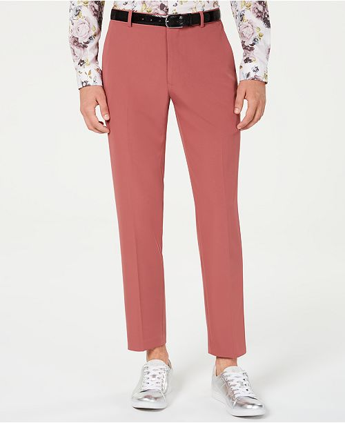 INC International Concepts INC Men's Slim-Fit Dusty Red Pants, Created for Macy's