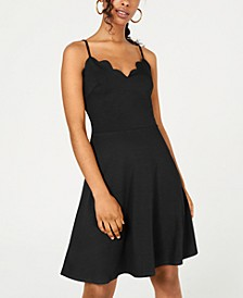 Juniors' Scalloped Fit & Flare Dress, Created for Macy's