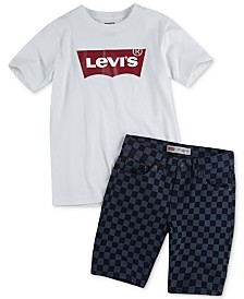 Levi's® Big Boys Batwing Logo-Print T-Shirt & 502™ Regular Tapered-Fit Checkerboard-Print Denim Shorts