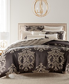 Classic Flourish Damask Jacquard Bedding Collection, Created for Macy's