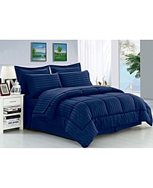 Wrinkle Resistant - Silky Soft Dobby Stripe Bed-in-a-Bag 8-Piece Comforter Set - Hypoallergenic - King/California King