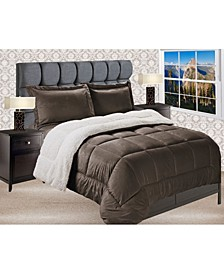 Premium Quality Heavy Weight Micromink Sherpa - Backing Reversible Down Alternative Micro - Suede 2-Piece Comforter Set, Queen