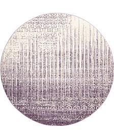 Lyon Lyo2 Purple 8' x 8' Round Area Rug