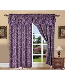 """Elegance Linen Luxury Jacquard Curtain Panel Set with Attached Valance 55"""" x 84"""" - Set of 2"""