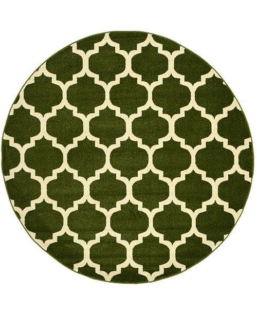 Bridgeport Home Arbor Arb1 Dark Green 6' x 6' Round Area Rug