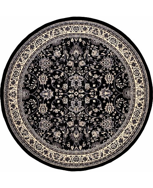 Bridgeport Home Arnav Arn1 Black 8' x 8' Round Area Rug