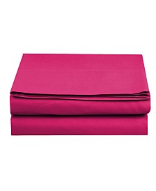 Elegant Comfort Silky Soft Single Flat Sheet Twin Pink