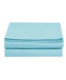 Elegant Comfort Silky Soft Single Flat Sheet Full Aqua