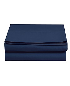 Elegant Comfort Silky Soft Single Flat Set Queen Navy