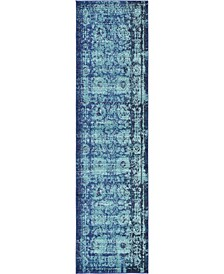 "Sana San4 Turquoise 2' 7"" x 10' Runner Area Rug"
