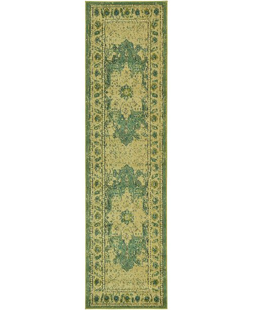 "Bridgeport Home Sana San6 Green 2' 7"" x 10' Runner Area Rug"