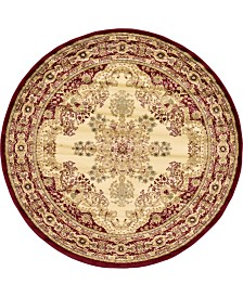 Bridgeport Home Belvoir Blv1 Ivory/Red 6' x 6' Round Area Rug