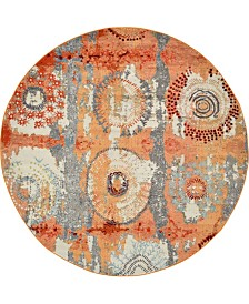 Bridgeport Home Newwolf New3 Orange 8' x 8' Round Area Rug