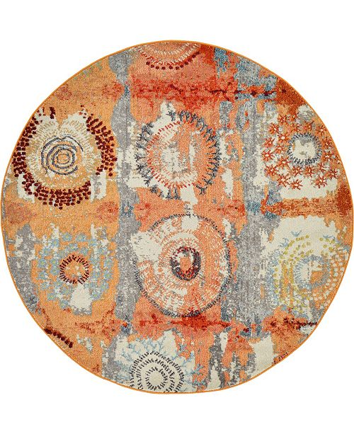 Bridgeport Home Newwolf New3 Orange 6' x 6' Round Area Rug