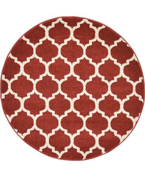 """Bridgeport Home Arbor Arb1 Red 3' 3"""" x 3' 3"""" Round Area Rug"""