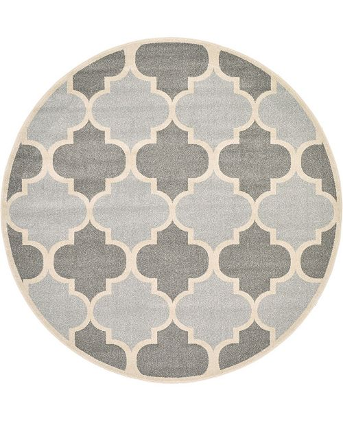 Bridgeport Home Arbor Arb7 Light Gray 8' x 8' Round Area Rug
