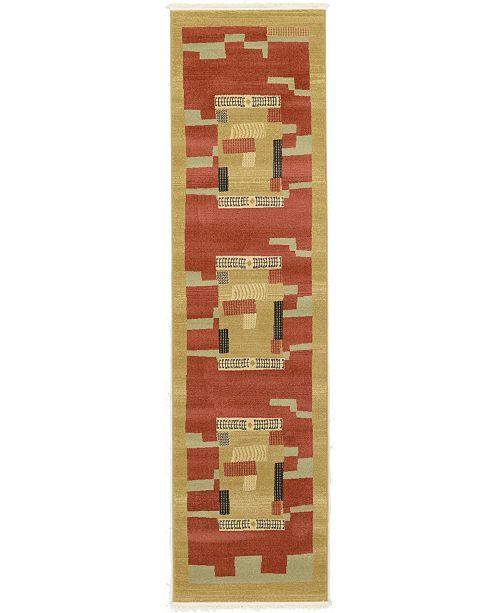 """Bridgeport Home Ojas Oja2 Rust Red 2' 7"""" x 10' Runner Area Rug"""