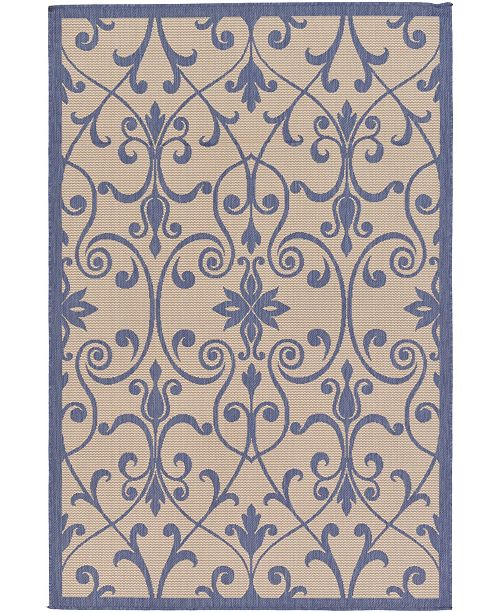 "Bridgeport Home Pashio Pas5 Blue 5' 3"" x 8' Area Rug"