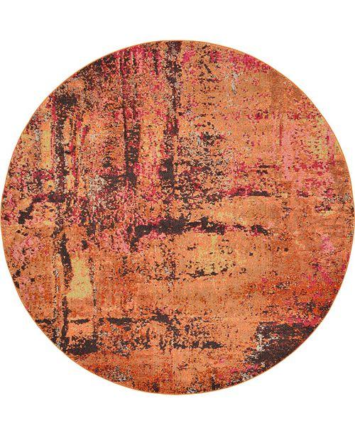 Bridgeport Home Newwolf New3 Orange 8' x 8' Round Area Rug